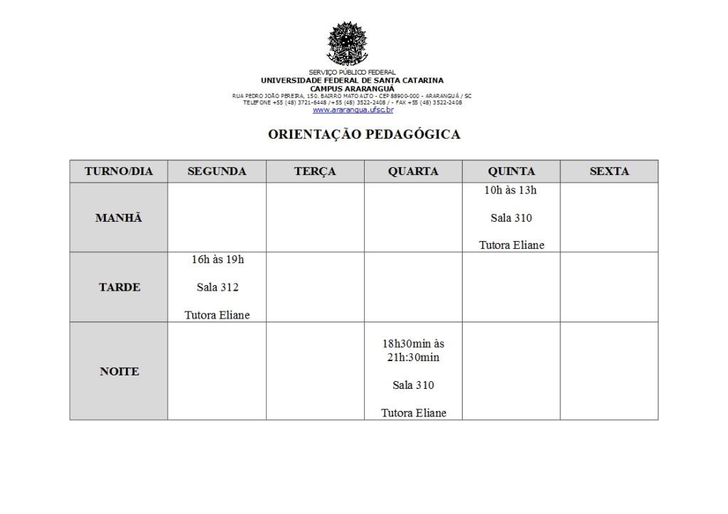 HORÁRIOS ORIENTAÇÃO PEDAGÓGICA 2015-1 (1)