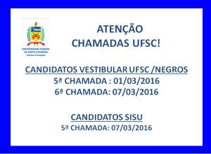 CHAMADAS VESTIBULAR UFSC 2016